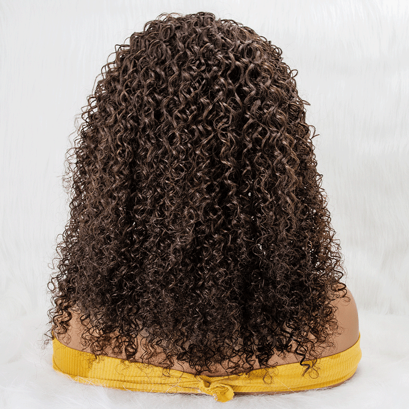 18'' Long Curly 100% Virgin Human Hair Grab-N-Go Headband Wigs