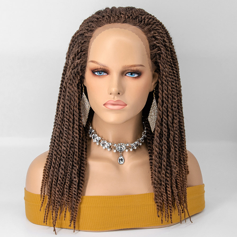 Reggae Twisted Medium Braids Lace Front Wig 100% Handmade Outre Braided Glueless Wig for Women