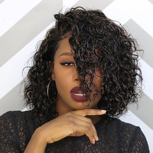 Side Part Curly Lace Front Short Bob Wigs No Work for Real Beginners