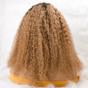 Ombre Long Curly Invisible T Part Lace Human Hair Wigs