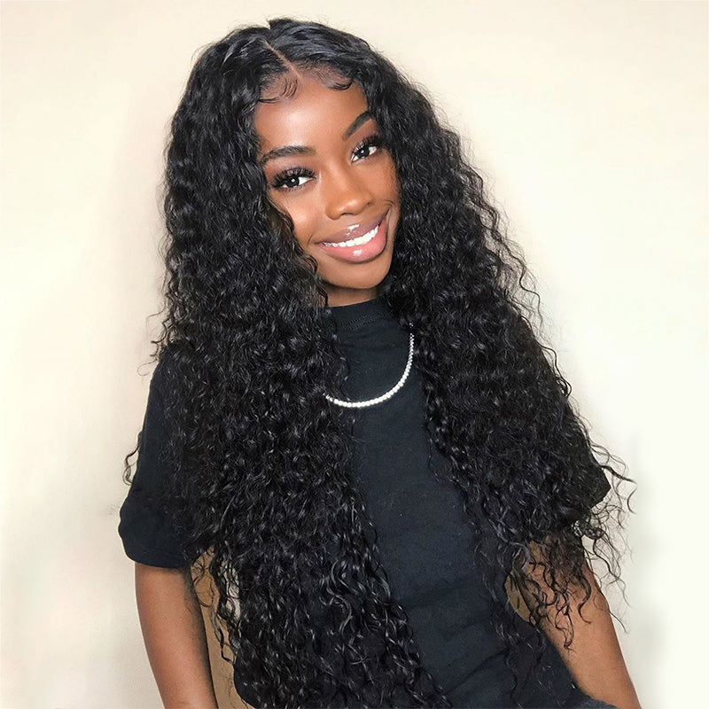 Grade 10A Human Hair Transparent Lace Wet Wavy Wigs with Bleached Knots