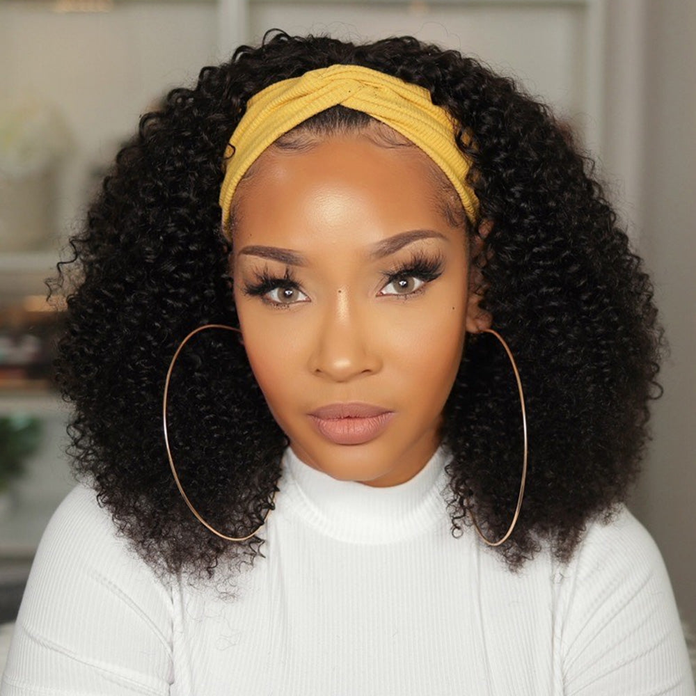 Grab-N-Go Headband Wigs 100% Kinky Curly Virgin Human Hair Wigs