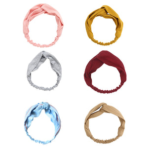 6 Pack Women Workout Knotted Boho Stretchy Headband