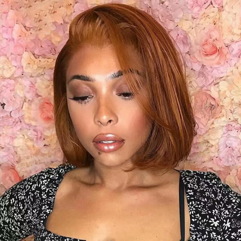 Copper Red Invisible T Part Lace Human Hair Short Bob Wigs