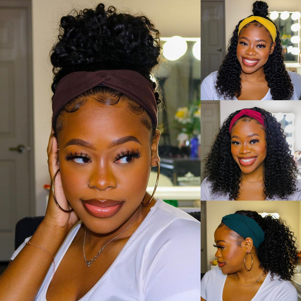 Grab-N-Go Headband Wigs 100% Deep Curly Virgin Human Hair Wigs