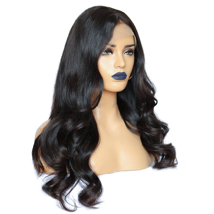 """ Lily"" 13""x 6"" Undetectable Transparent Lace Body Wavy Brazilian Virgin Hair Lace Front Wigs"