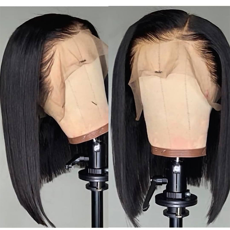 13*4 Middle Part Straight Short Bob Wigs with Bleached Knots for Women