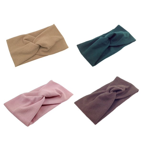 4 Pack Solid Color for Women Wide Head Wraps Knotted Elastic Headbands