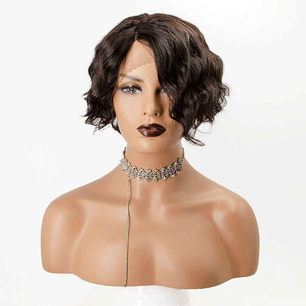 Short Curly Invisible T Part Lace Human Hair Short Bob Wigs