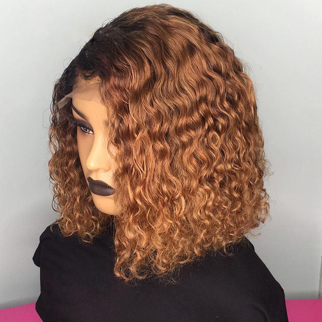"""Rachel"" Ombre Brown Side Part Water Wave Bob Lace Wigs"