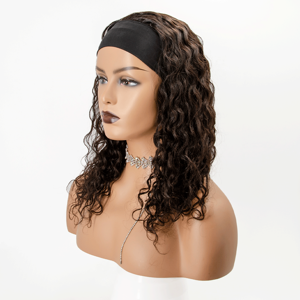 #1B Grab-N-Go Headband Wigs Water Wave 100% Human Hair Wigs