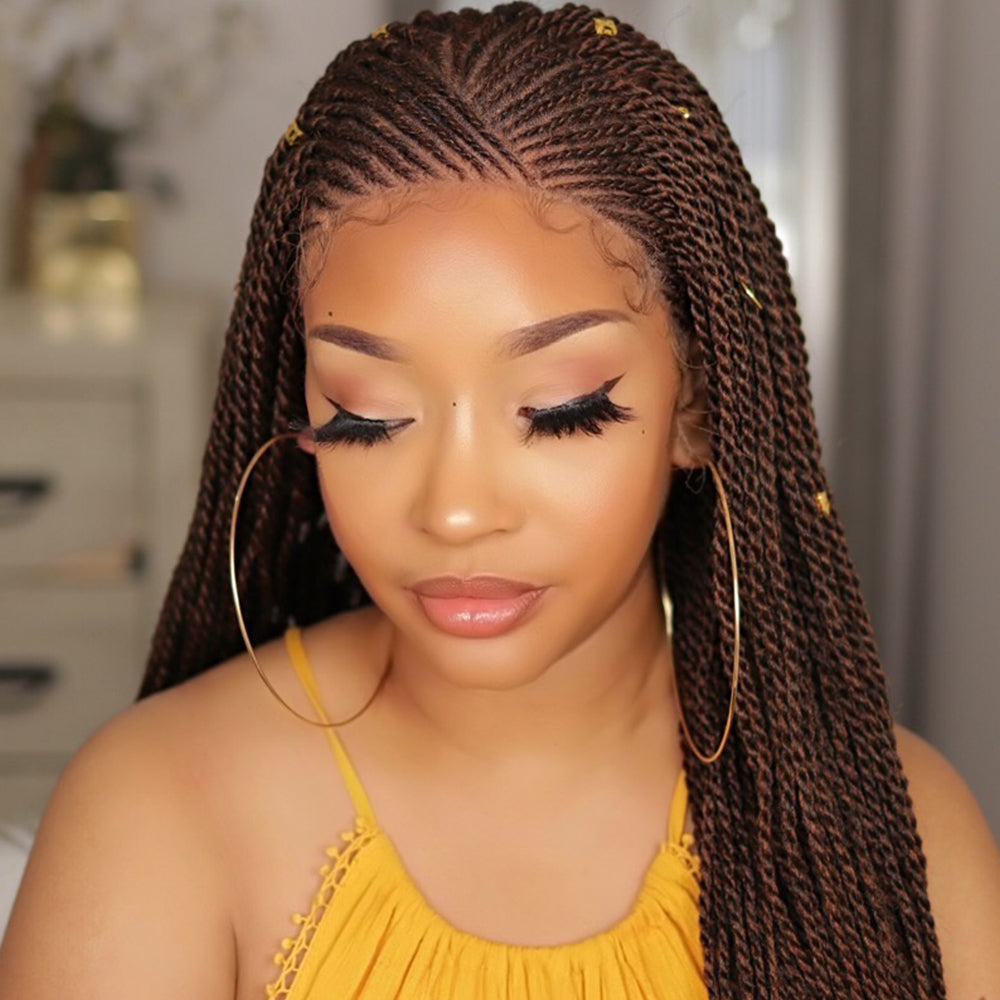 100% Hand Braided Box Braids Cornrow Ombre 13x5 Glueless Braided Lace Wig