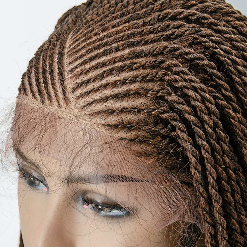 [Pre-Sale] 100% Hand Braided Box Braids Cornrow Ombre Color 13x5 Glueless Braided Lace Wig