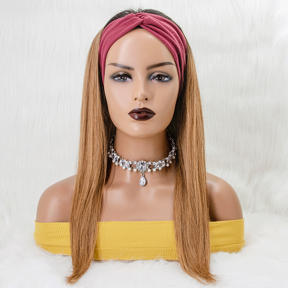 #1B/30 Ombre 100% Straight Human Hair Headband Wigs