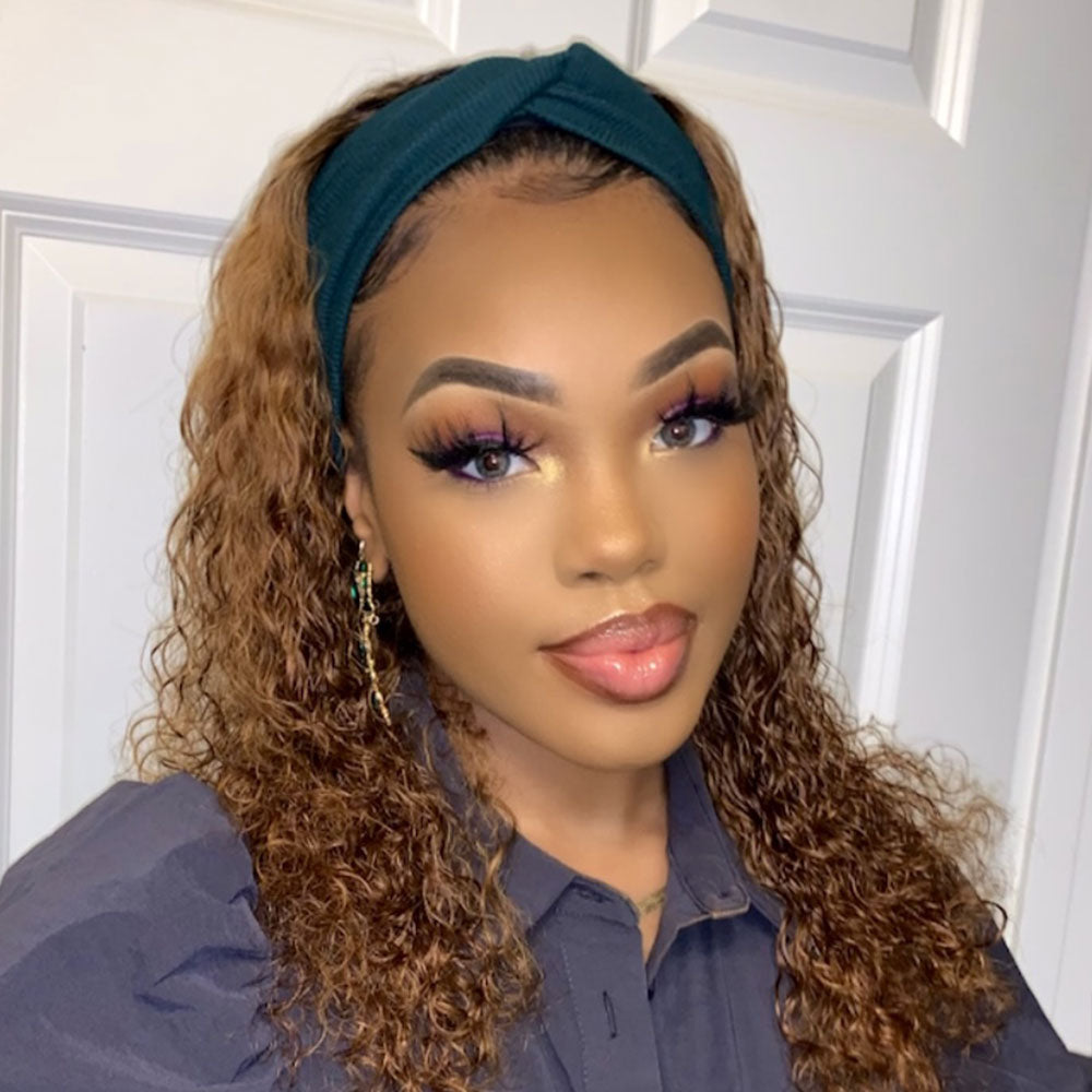 #1B/30 Curly 100%  Virgin Human Hair Headband Wigs