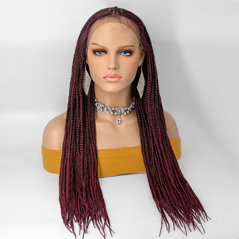 [NEW IN] 100% Handmade Knotless Twist Braided Cornrow Pre-Braided Lace Front Wig