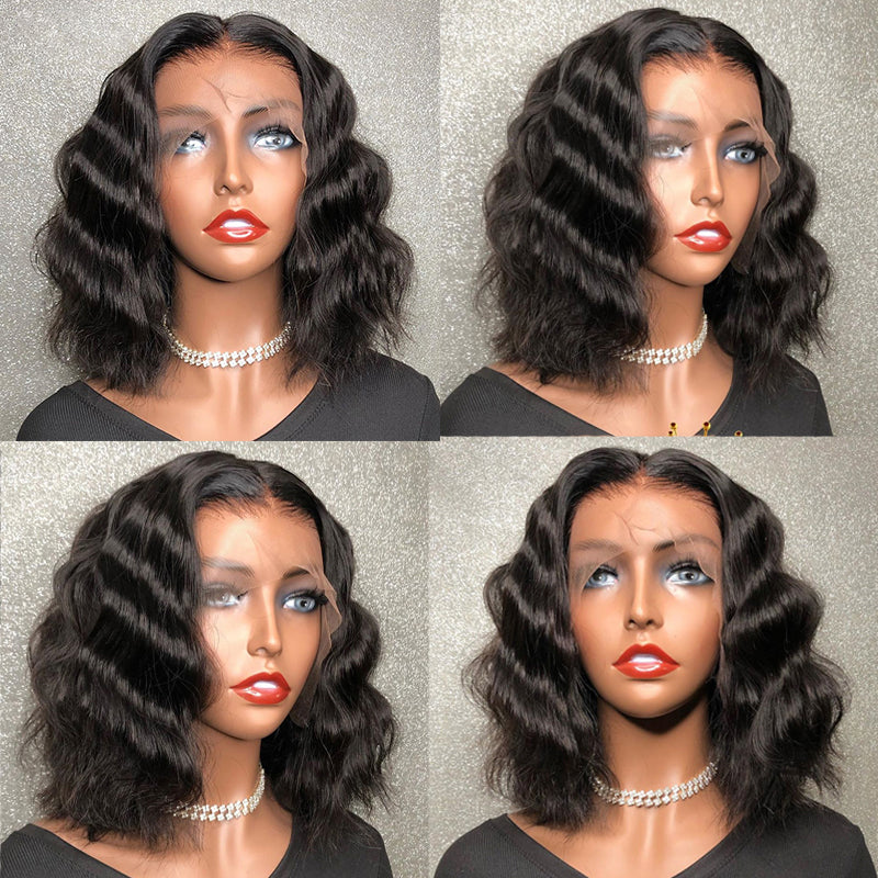 """Natalie"" #1B Short Natural Wavy Bob Full Lace Wig"