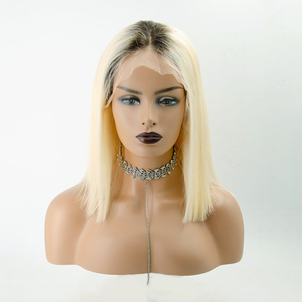 """Ruth"" 14'' Ombre Blonde Short Bob Lace Front Straight Human Hair Wigs"