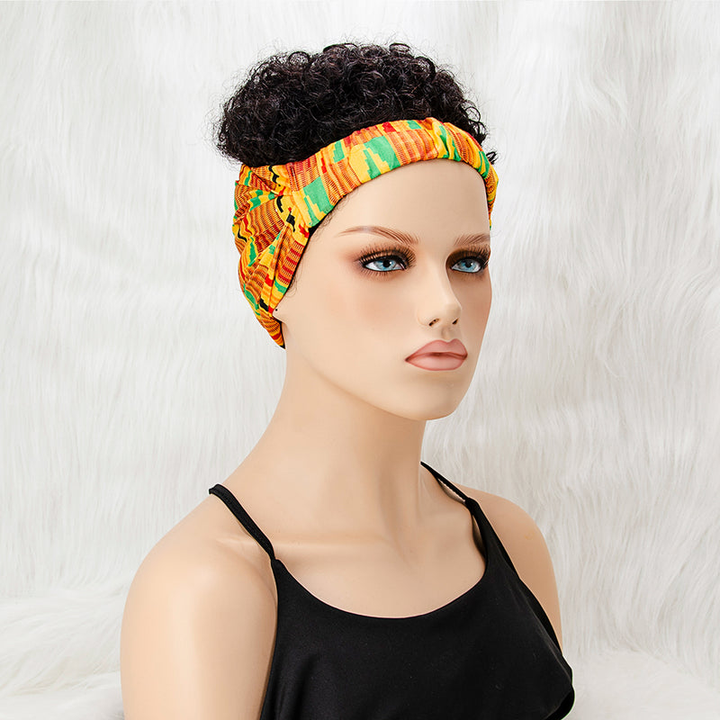 6'' Aisaide Afro Kinky Curly Wigs for Women with Headband Wig