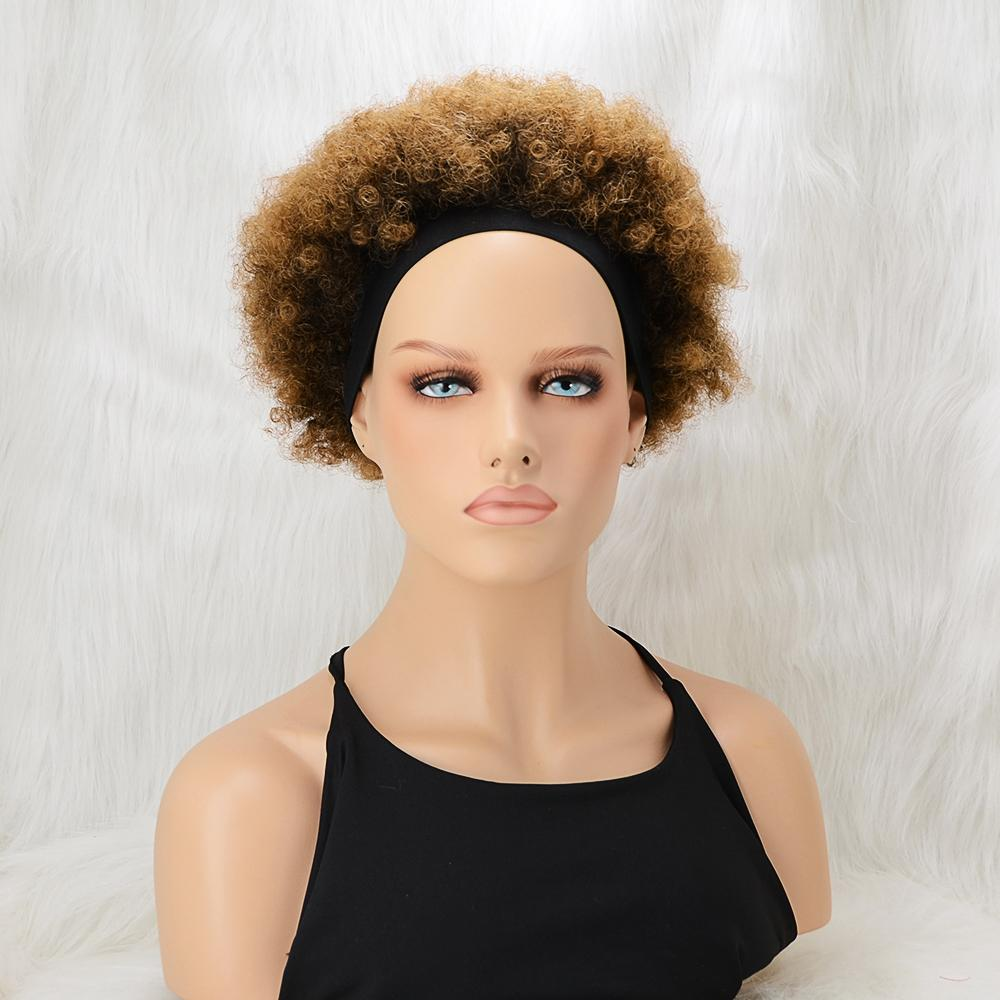 6 Inch #1B/30 Afro Kinky Curly 100% Virgin Hair Wig with Headband