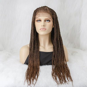 100% Hand Braided Twist Braids Cornrow Ombre Color 13x5 Glueless Braided Lace Wig