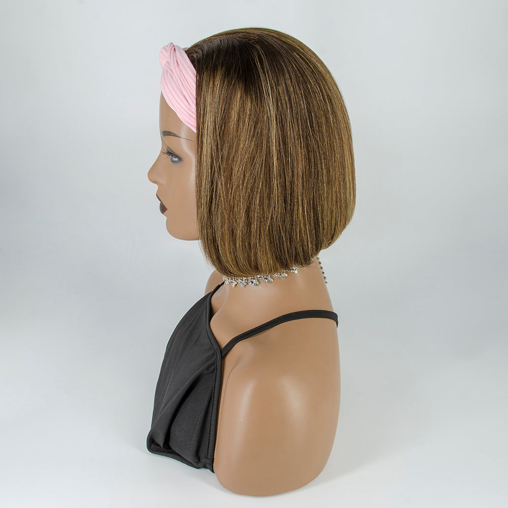 [Pre-sale] #4/27 Grab-N-Go Headband Wigs Highlight Straight Bob 100% Human Hair Wigs