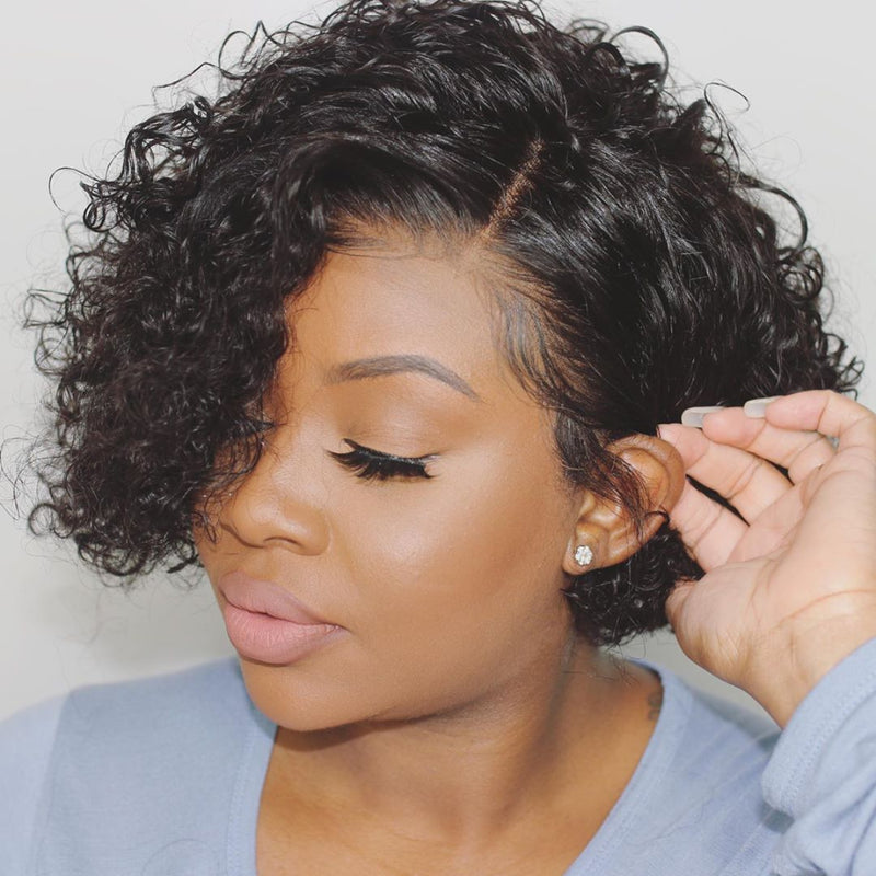 """Nadine"" Pixie Cut Curly Short Bob Lace Front Human Hair Wigs"