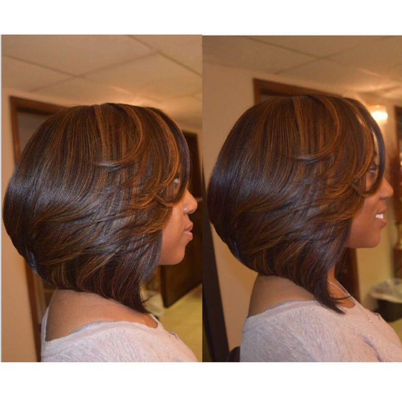 """Betty"" #1B/8 Highlight Bob Lace Front Wig Human Hair"