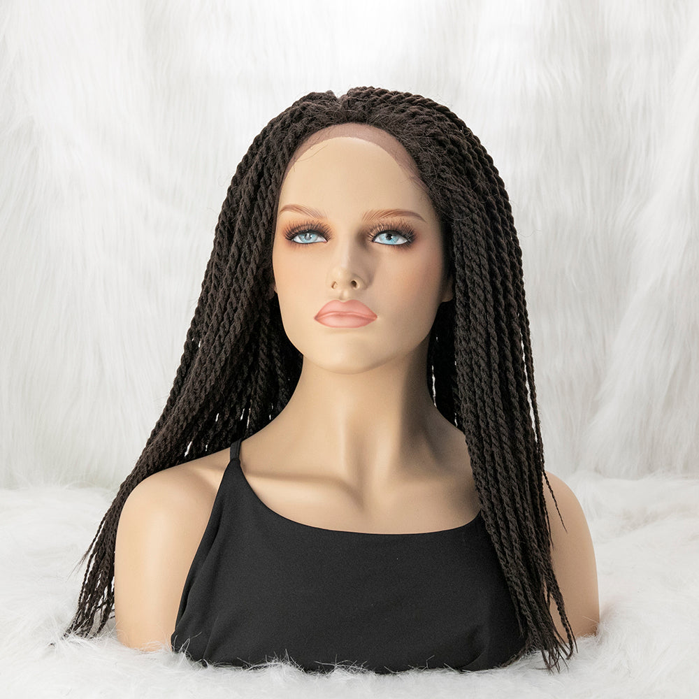 Reggae Style Outre Twisted Medium Braids Lace Front Wig 100% Hand Braided Glueless Wig