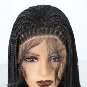 100% Hand Made Box Braided Synthetic Lace Frontal Wig