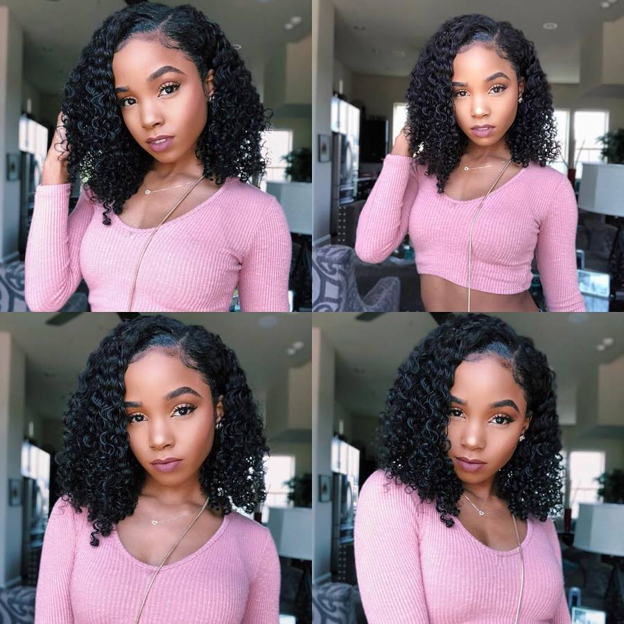 """Tatiana""Pre-Plucked Brazilian Virgin Hair Deep Curly Side Part Bob Wigs Upgraded"