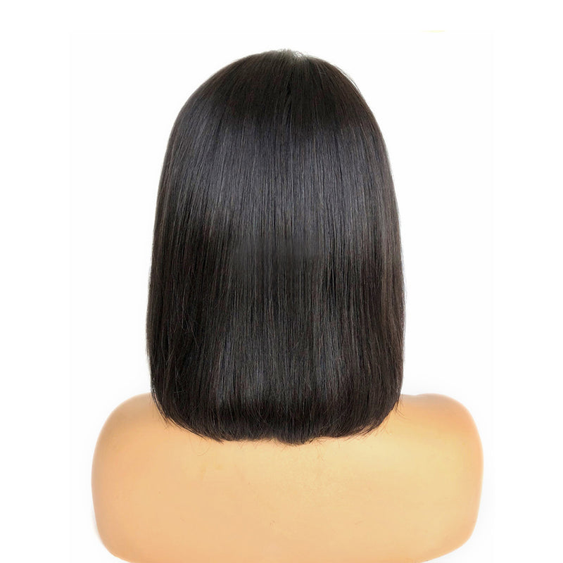 Fake Scalp Wigs Short Straight Bob Hair with Bang Lace Front Wig