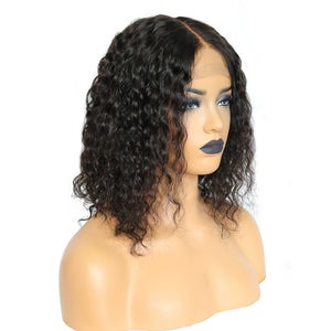 100% Human Hair Half Lace Short Bob Wigs Water Wave Textured in the United States