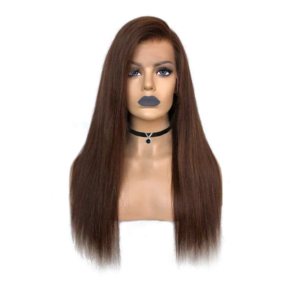 Lace Front Wigs Side Part Straight Hair Honey Brown