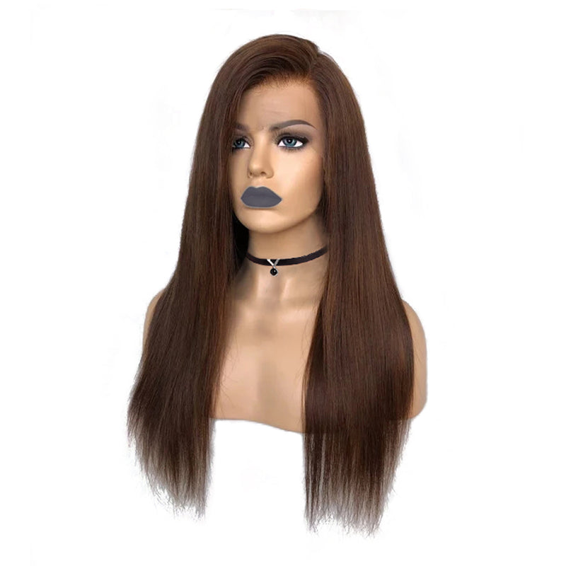 """Evelynn"" Side Part Honey Brown Lace Front Wigs Straight Hair"