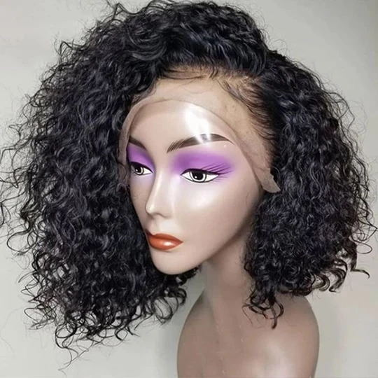 Pre-plucked Human Hair Short Bob Wigs Curly with Baby Hair for Black Girls