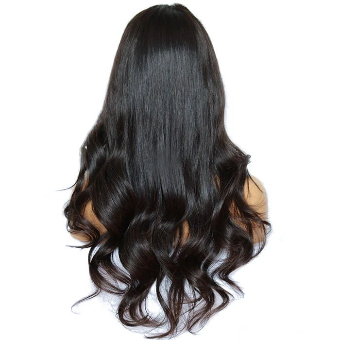 Chic Wavy Wig Human Hair Invisible Transparnet Lace with Bleached Knots