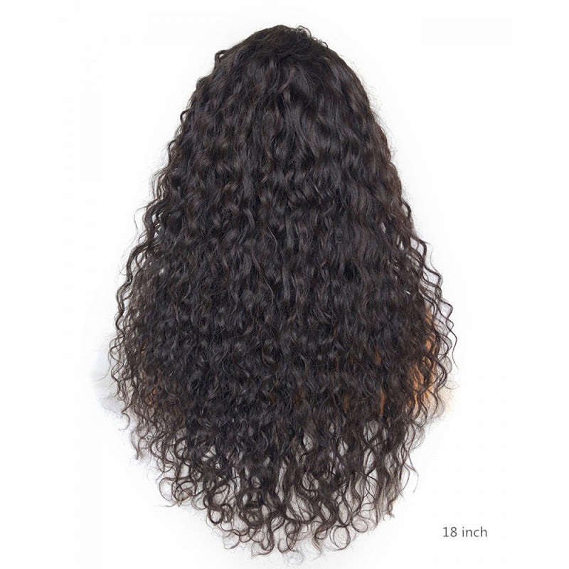 Glueless Human Hair Transparent Frontal Lace Wigs Water Wave for Sale