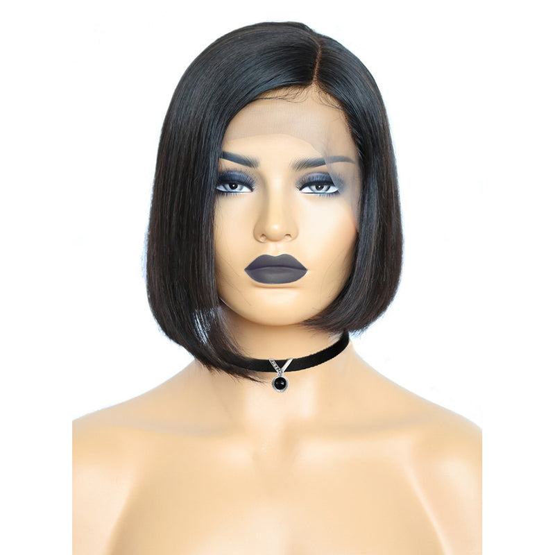 Human Hair Wig Store Near Me Side Part Short Bob Wigs with Baby Hair for Sale