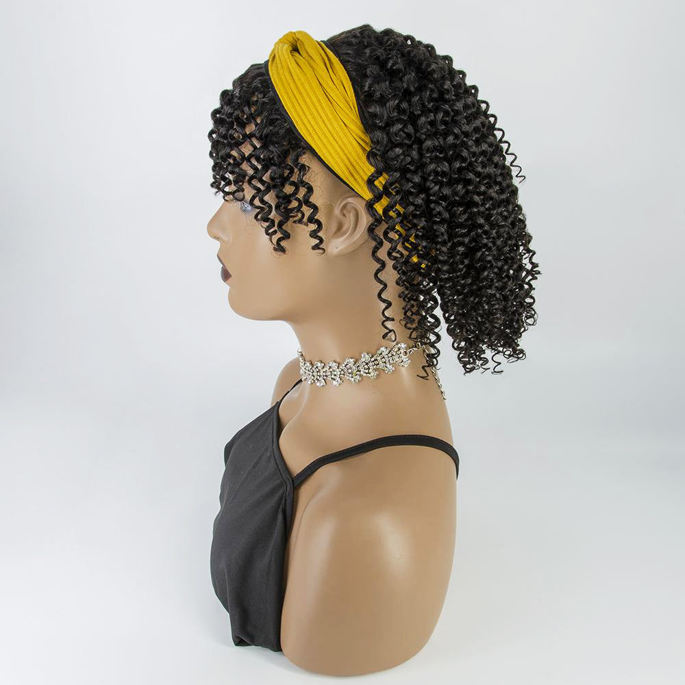 [Pre-sale] Short Kinky Curly Glueless Human Hair Headband Wig with Bangs