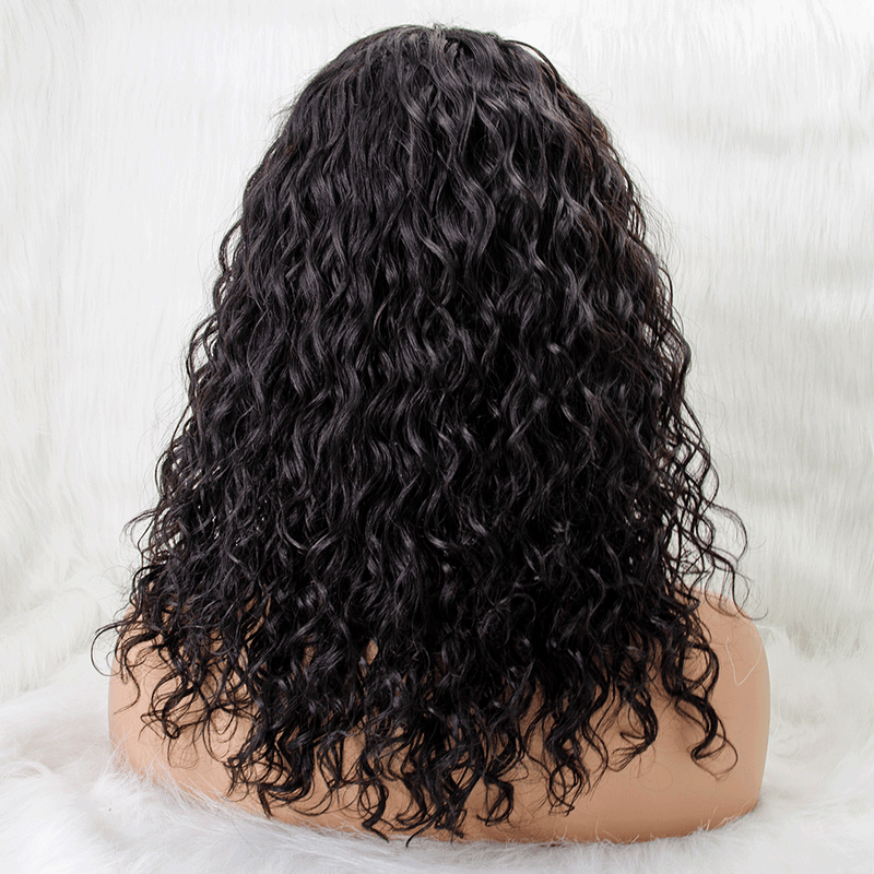 Long Water Wave Invisible T Part Lace Human Hair Wigs