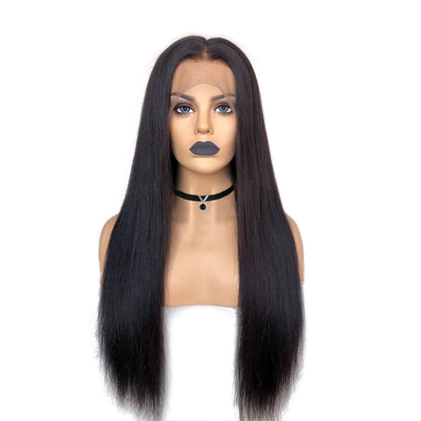 """Rebecca"" Pre-Made Fake Scalp Glueless Human Hair Straight Lace Front Wigs"