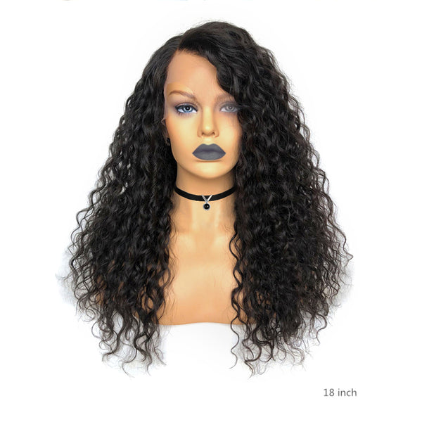 "13""x 6"" Undetectable Transparent Lace Water Wave Brazilian Virgin Hair Lace Front Wigs"