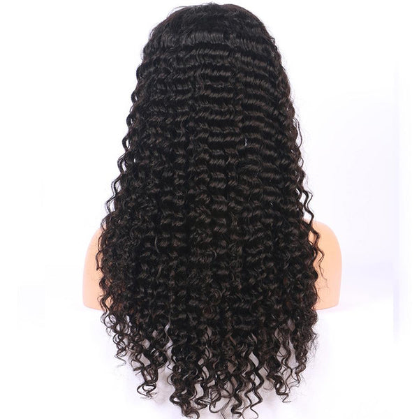 360 Lace Frontal Wig 150% Density Deep Curly Brazilian Virgin Hair