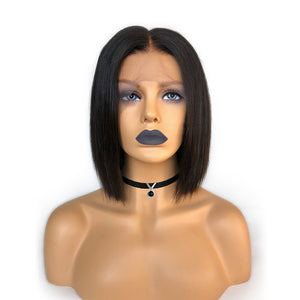 """Maria"" Pre-Made Fake Scalp Glueless Short Straight Bob Lace Front Wig"