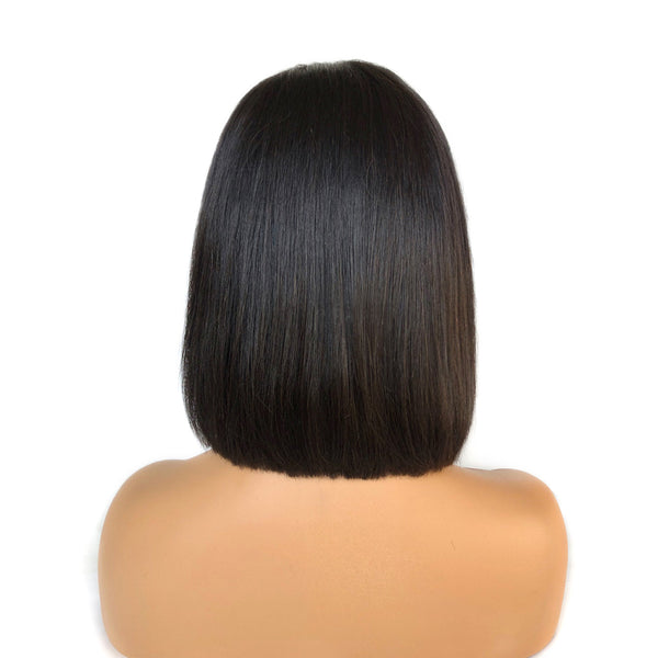 Pre-Made Fake Scalp Glueless Short Straight Bob Lace Front Wig