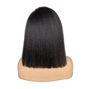 """Michella"" Kinky Straight Short  Bob Lace Front Wig"