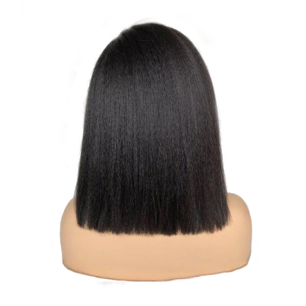 Pre-Made Fake Scalp Glueless Short Kinky Straight Bob Lace Front Wig