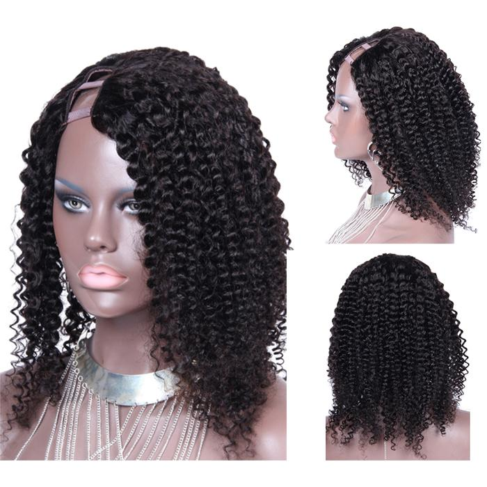 Full Density Kinky Curly Brazilian Virgin Hair U Part Wigs