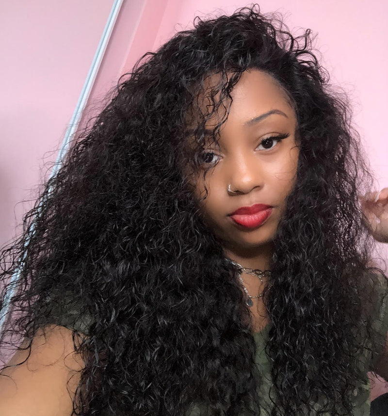 """ Rose"" 13""x 6"" Undetectable Transparent Lace Water Wave Brazilian Virgin Hair Lace Front Wigs"